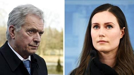 Presidentti Sauli Niinistö ja pääministeri Sanna Marin.