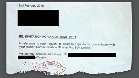 HS sai haltuunsa kuolleen suomalaisen liikemiehen saaman kutsukirjeen, joka saattaa olla väärennös. Kirjeen on allekirjoittanut Ugandan turvallisuuspalvelun ISO:n johtaja, eversti Frank Kaka Bagyenda.