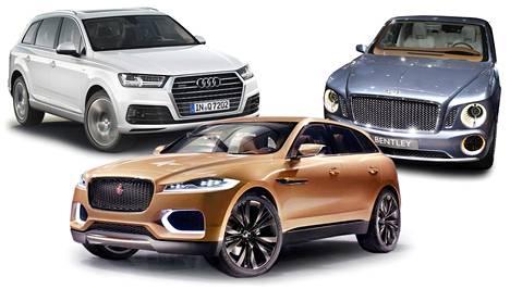 Audi Q7, Bentley EXP9 ja Jaguar F-Pace ovat suuria ja kalliita katumaastureita, jollaisten kysyntä on kääntynyt laskuun.