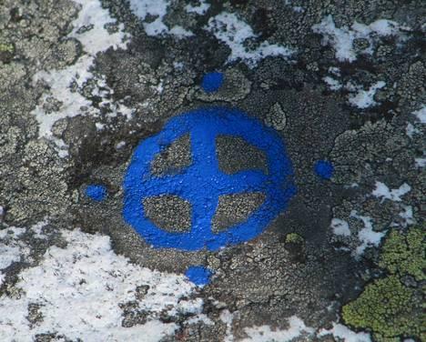 Kolin kansallispuiston kallioon on maalattu symboli. Metsähallituksen työntekijät arvioivat, että asialla ovat olleet uusien luonnonuskontojen harjoittajat.