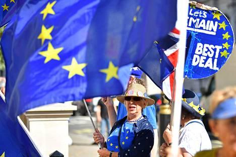 EU-myönteisiä mielenosoittajia Lontoossa maanantaina.