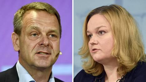Helsingin pormestari Jan Vapaavuori perhe- ja peruspalveluministeri Krista Kiuru.