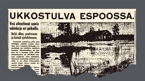 Espoon rankkasateesta kerrottiin sunnuntaina 23.7.1944 julkaistussa Helsingin Sanomissa.