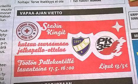 HIFK:n fanit ostivat Metro-lehdestä ilmoituksen.