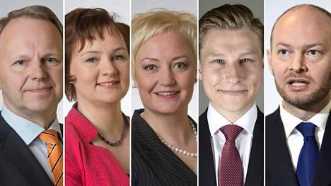 Jari Leppä (kesk), Anne Kalmari (kesk), Mauri Pekkarinen (kesk), Antti Häkkänen (kok) ja Sampo Terho (ps).