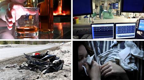 Alkoholi, sydäninfarktit, liikenneonnettomuudet ja influenssa tappavat vuosittain suomalaisia.