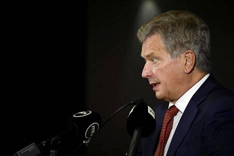 Presidentti Niinistö järjesti tiistaina lehdistötilaisuuden Washingtonissa.