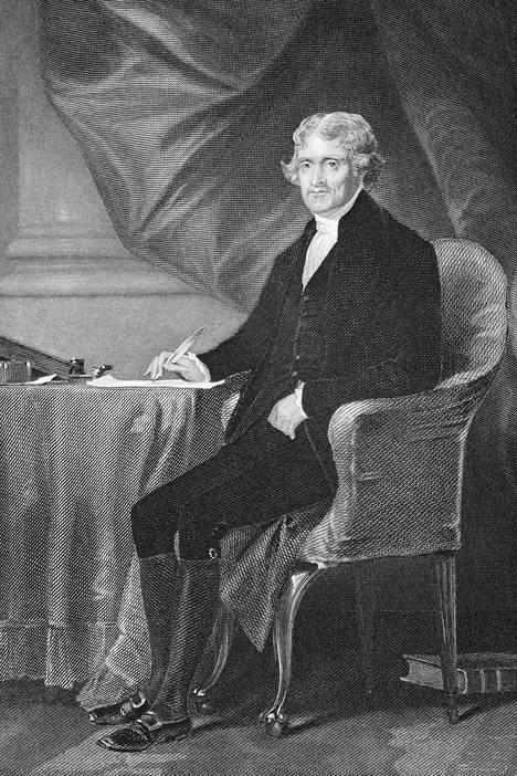 Thomas Jefferson toimi Yhdysvaltain presidenttinä vuosina 1801–1809. Alonzo Chappelin maalaus.