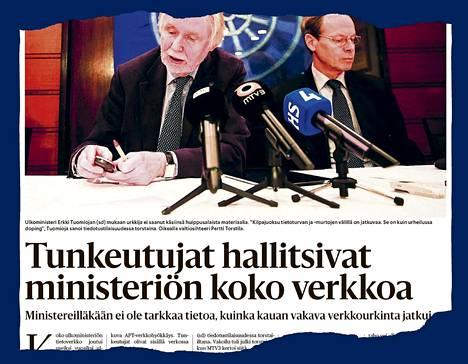 HS kertoi ulkoministeriöön kohdistuneesta verkkovakoilusta marraskuussa 2013.