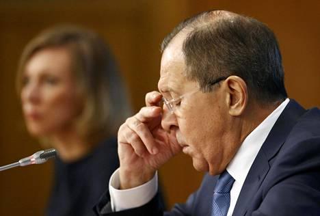 Venäjän ulkoministeri Sergei Lavrov puhui lehdistölle tiistaina.