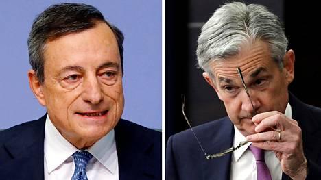 Euroopan keskuspankin pääjohtaja Mario Draghi (vas.) kertoi huhtikuun alussa, että ohjauskorko pidetään ennallaan eli nollassa ainakin tämän vuoden loppuun. Yhdysvaltojen keskuspankin pääjohtaja Jerome Powell (oik.) kertoi keskiviikkona, että hidasta inflaatiovauhtia seurataan tarkasti.