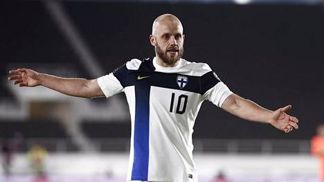 Teemu Pukki of Finland during football UEFA Group D FIFA World Cup 2022 qualification match Finland vs Bosnia and Herzegovina in Helsinki, Finland, on March 24, 2021.