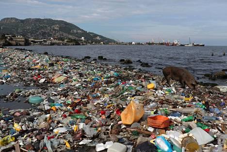Muovijätettä lojui rannalla haitilaisella Cap Haitianin rannalla lokakuussa 2018.