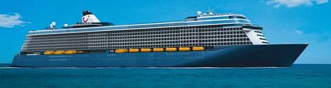 Havainnekuva varustamoyhtiö TUI Cruisesin vuonna 2011 tilaamasta risteilyaluksesta. Tilaukset ovat vaarassa, koska valtion erityisrahoitusyhtiö ei ole myöntänyt STX Finlandille varainhankinnalle elintärkeää takausta.