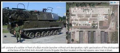 Yksityiskohta Bellingcatin raportista, jossa Venäjän asevoimien ilmatorjuntaprikaatin sotilas poseeraa ohjuslavetin edessä. Oikeanpuoleinen kuva näyttää poseerauksen sijainnin kartalla.
