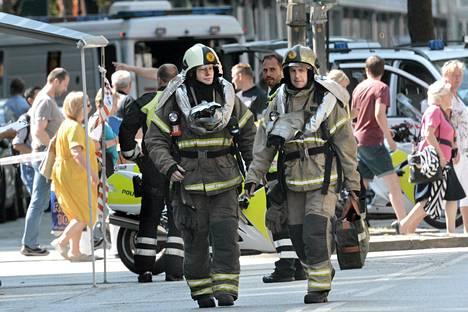 Pommiuhka sai palomiehet liikkeelle Kööpenhaminen keskustassa.