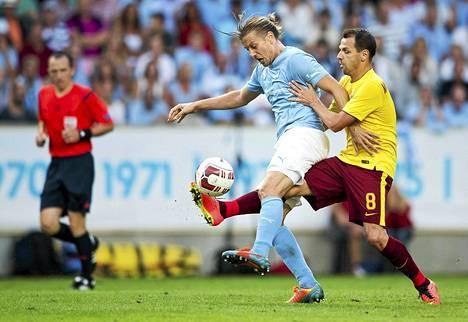 Markus Halsti oli tositoimissa myös edellisen kierroksen ottelussa Sparta Prahaa vastaan.