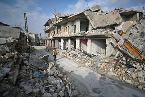 Pommitusten jälkiä Idlibin alueella helmikuussa.