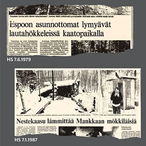 Helsingin Sanomat kirjoitti Mankkaan kaatopaikan kupeessa sijaitsevasta hökkelikylästä 1979 ja 1987.