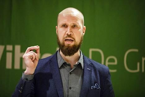 Vihreiden uusi puheenjohtaja on 33-vuotias Touko Aalto. Kuva lauantaiaamupäivältä Tampereelta.