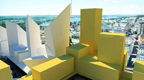 Näkymäkuva kertoo, millaiset näkymät nykyisestä Tampereen Torni-hotellista olisi pääradan suuntaan. Valkoiset rakennukset liittyvät Kansi ja Areena -hankkeeseen, keltaiset ovat pelkkiä hahmotelmia siitä, miten ratapihan päälle voitaisiin joskus rakentaa.