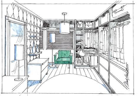 Sisustussuunnittelija Marita Heino suunnitteli lastenhuoneen muutoksen pukeutumishuoneeksi.