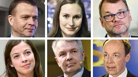 Petteri Orpo, Sanna Marin, Juha Sipilä, Li Andersson, Pekka Haavisto ja Jussi Halla-aho