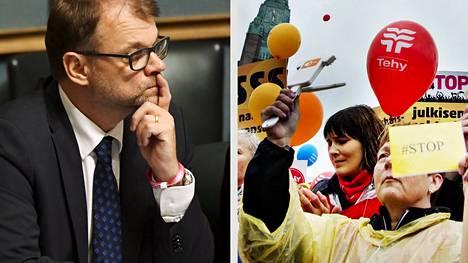 Juha Sipilä eduskunnan kyselytunnilla torstaina ja ammattiliittojen suurmielenosoitus Helsingissä 2015.