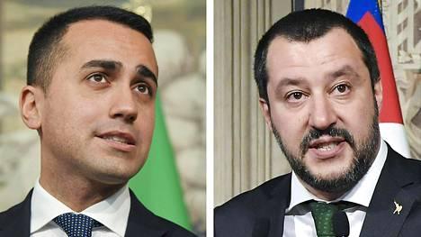 Viisi tähteä -puolueen johtaja Luigi Di Maio (vas.) ja Legan puoluejohtaja Matteo Salvini.
