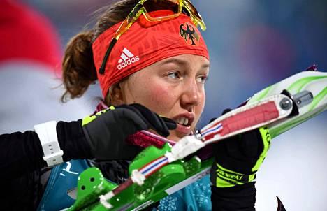 Laura Dahlmeier voitti lauantaina ampumahiihdon pikakilpailun.