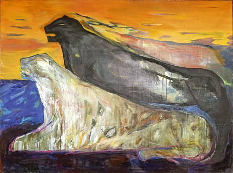 Leena Luostarinen: Rannalla, 1982. Teos on esillä Hämeenlinnan taidemuseon Kasari – Taiteen 1980-luku -näyttelyssä.