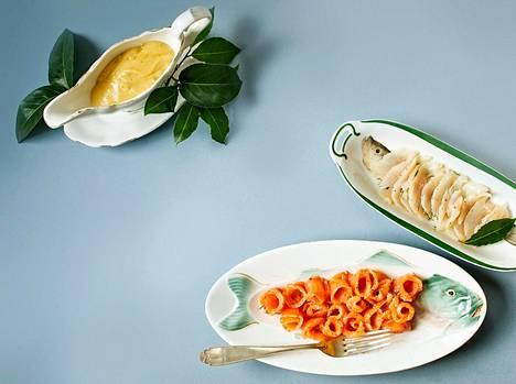 Tuoresuolatut lohi ja siika syödään kuten Mysin lapsuudenkodissa: siika sellaisenaan, lohi sinappikastikkeen kanssa.