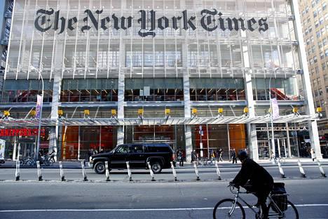The New York Timesin pääkonttori New Yorkissa. Kuva on vuodelta 2016.