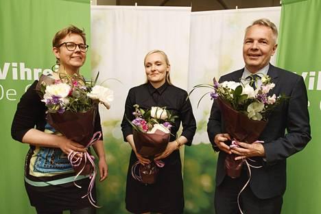 Vihreiden uudet ministerit: ympäristö- ja ilmastoministeri Krista Mikkonen (vas.), sisäministeri Maria Ohisalo ja ulkoministeri Pekka Haavisto.