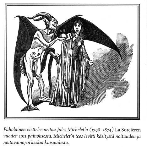 Jules Michelet'n teos La Sorcière levitti käsitystä noituuden ja noitavainojen keskiaikaisuudesta. Vuoden 1911 painoksen kuvassa paholainen viettelee neitoa. – Kirjan kuvitusta.