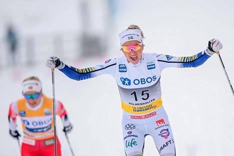 Hiihtokauden viimeinen kisa käytiin 7. maaliskuuta Holmenkollenilla, jossa Fridan Karlsson voitti Therese Johaugin.