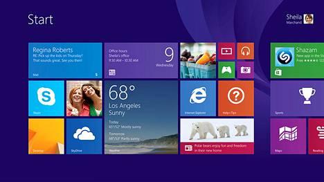 Windows 8 -käyttöjärjestelmän aloitusnäkymä.