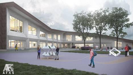 Arkkitehtitoimiston suunnitelma Suomalais-venäläisen koulun ulkonäöstä.