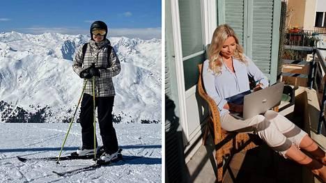 Vasemmalla Ripsa Niemi laskettelemassa Alpeilla Itävallan Innsbruckissa, oikealla Ada Törrönen tekemässä opintoja parvekkeella Nizzassa.