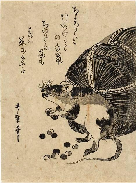 Utamaron puupiirros Hiiri ja riisisäkki on tehty vuosien 1780–1800 välillä.