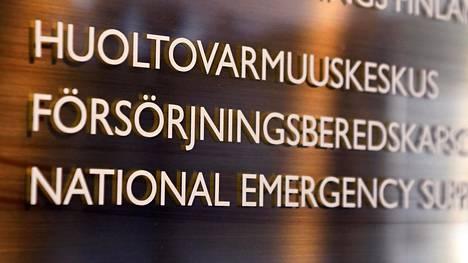 Huoltovarmuuskeskuksen kyltti Helsingissä.