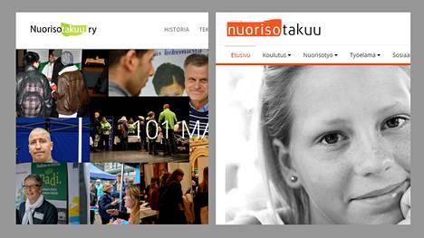 Kuvassa vasemmalla Nuorisotakuu ry:n verkkosivu ja oikealla työ- ja elinkeinoministeriön (TEM) pyörittämän ja opetus- ja kulttuuriministeriön ylläpitämän nuorisotakuun verkkosivu.