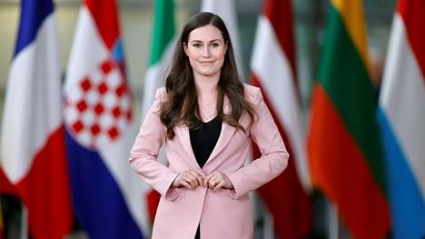 Pääministeri Sanna Marin torstaina EU:n huippukokouksessa Brysselissä.