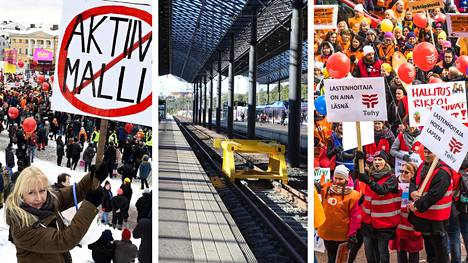 Hallituksen aktiivimallia vastaan osoitettiin mieltä Senaatintorilla viime helmikuussa. Veturimiesten liiton protesti raideliikenteen kilpailumallia vastaan elokuussa 2017 pysäytti junaliikenteen. Osa päiväkotien työntekijöistä arvosteli varhaiskasvatuslakiesitystä Eduskuntatalon edessä keskiviikkona.