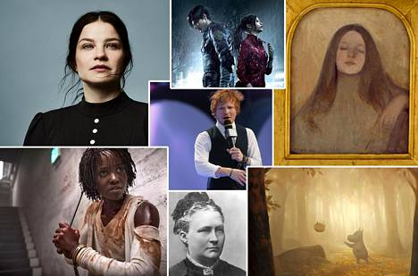 Marjukka Tepponen Jää-oopperassa (vas. ylh.), Resident Evil 2 Remake -peli, Ellen Thesleffin teos Thyra Elisabeth, Muumilaakso-piirrossarja, Minna Canth, Lupita Nyong'o elokuvassa Us ja Ed Sheeran.