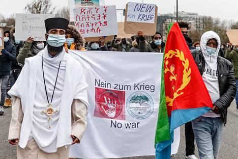 Hampurissa järjestettiin mielenosoitus Etiopian sotatoimia vastaan lauantaina.