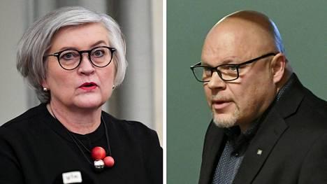 Eduskunnan puhemies Anu Vehviläinen ja kansanedustaja Ano Turtiainen.