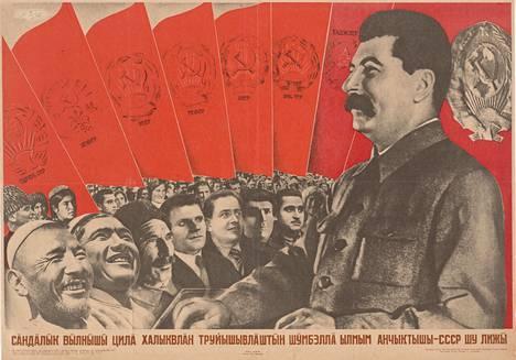 Vuoden 1935 propagandajulisteessa ylistetään Neuvostoliittoa maailman työläisten veljeyden mallimaana.