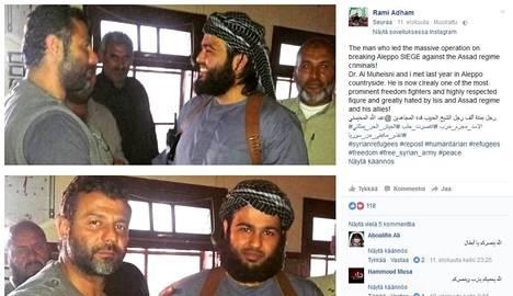 Rami Adham Aleppossa jihadistisaarnaaja Abdullah al-Muheisnin kanssa. Ajankohta tuntematon.