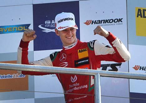 Mick Schumacher juhli F3-sarjan Euroopan mestaruutta Hockenheimin radalla 14. lokakuuta 2018.
